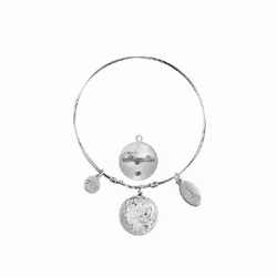 Daughter Silver C'est la Vie Token Bracelet Medium (64mm) by Beaucoup Designs