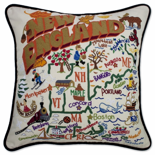New England XL Hand-Embroidered Pillow by Catstudio (Special Order)