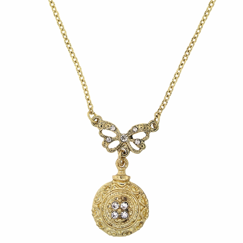 Gold Bow Amp Round Pendant Necklace Downton Abbey Collection