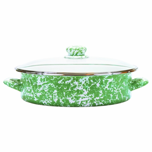 New Green Swirl Large Saute Pan by Golden Rabbit