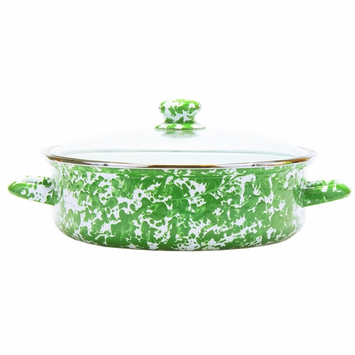 New Green Swirl Small Saute Pan by Golden Rabbit