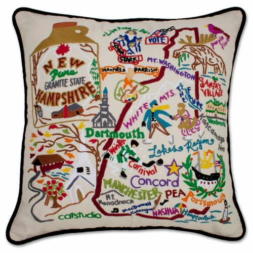 New Hampshire XL Hand-Embroidered Pillow by Catstudio (Special Order)