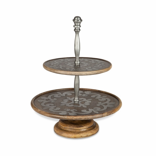 Heritage Wood & Metal 2-Tiered Stand - GG Collection