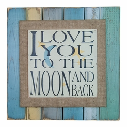 I Love You To the Moon Coastal Hues Sign by Pine Designs