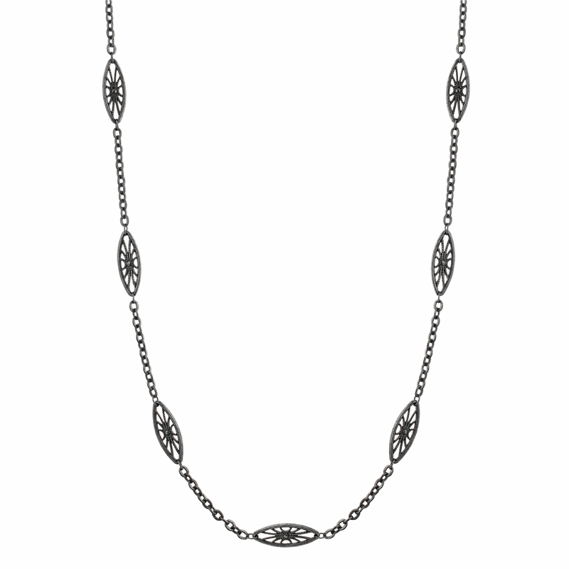 Jet Art Deco Long Necklace Downton Abbey Collection By