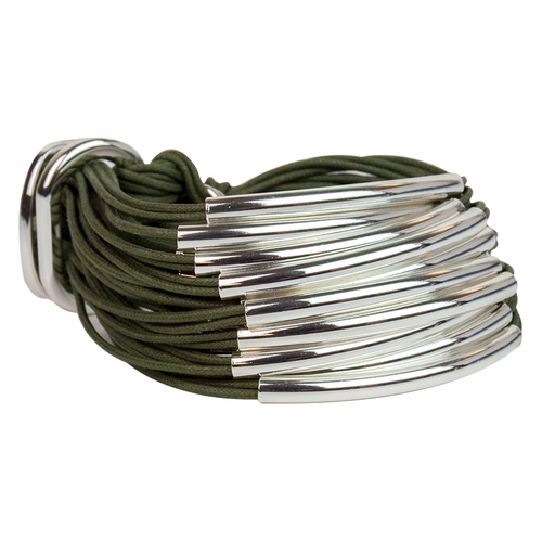 Khaki Silver Multi Tube Bracelet by Gillian Julius