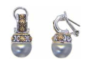 Large Pearl Earrings - Grey - John Medeiros