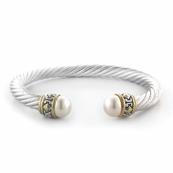 Large Pearl Wire Cuff Bracelet - White - John Medeiros