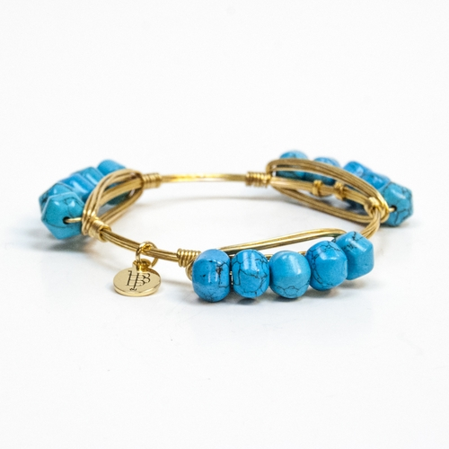 "Medium Turquoise Millie Pebble Standard 7.5"" Bangle by Bourbon and Boweties"