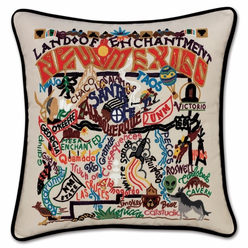 New Mexico XL Hand-Embroidered Pillow by Catstudio (Special Order)