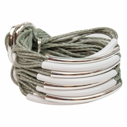 Mint Silver & White Multi Tube Bracelet by Gillian Julius