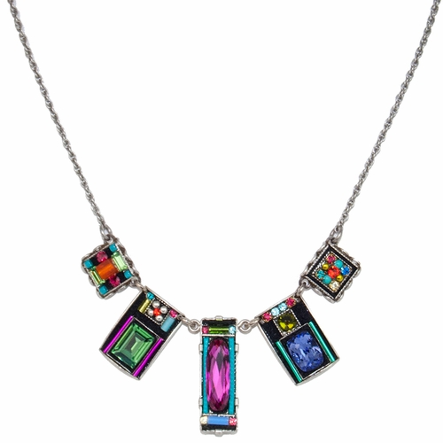 Multi-Color Baguette Necklace 8618 - Firefly Jewelry