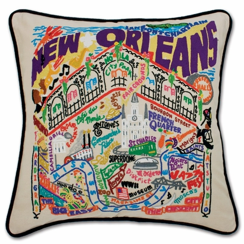 New Orleans XL Hand-Embroidered Pillow by Catstudio (Special Order)