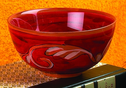 Painted Glass Round Bowl by Bella Toscana