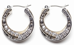 Palermo Two-Tone Pave CZ Layer Drop Hoop Earrings by John Medeiros