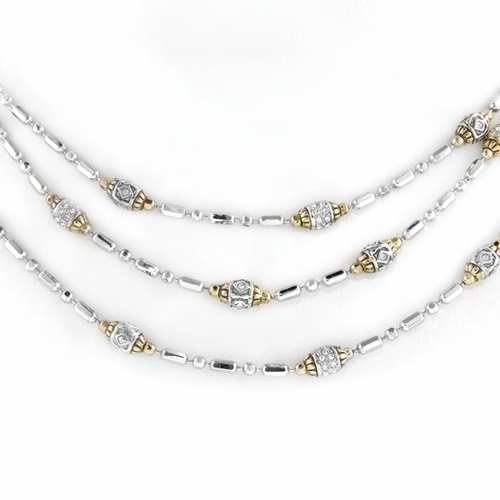 Pave Triple Strand Beaded Necklace - John Medeiros