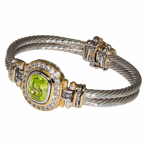 Peridot Nouveau Rectangle Bracelet With Pave by John Medeiros