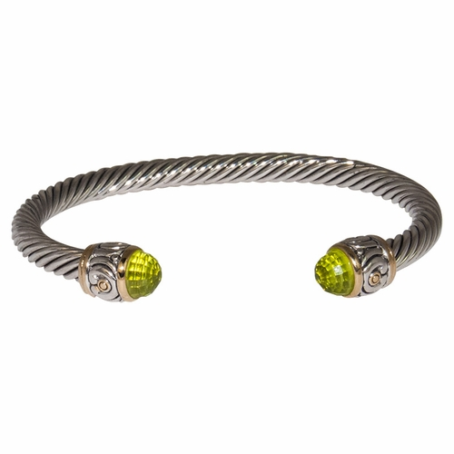 Peridot Small Nouveau Wire Cuff by John Medeiros