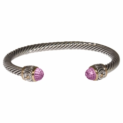 Pink Small Nouveau Wire Cuff by John Medeiros