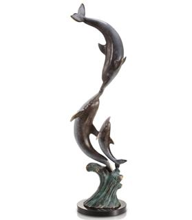 Playful Dolphin Trio Brass Sculpture - SPI Home (Special Order)