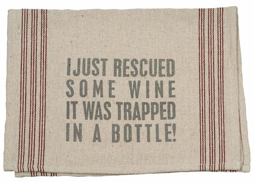Rescued Wine Tea Towel - Primitives by Kathy