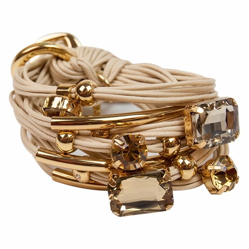 Sand Gold Tubes Large Crystals Bracelet by Gillian Julius