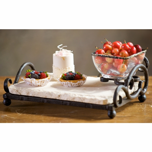 Siena Marble Server With Bowl by Bella Toscana