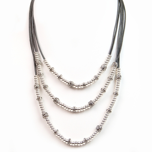 Slate Silver Beads & Rondels Necklace by Gillian Julius