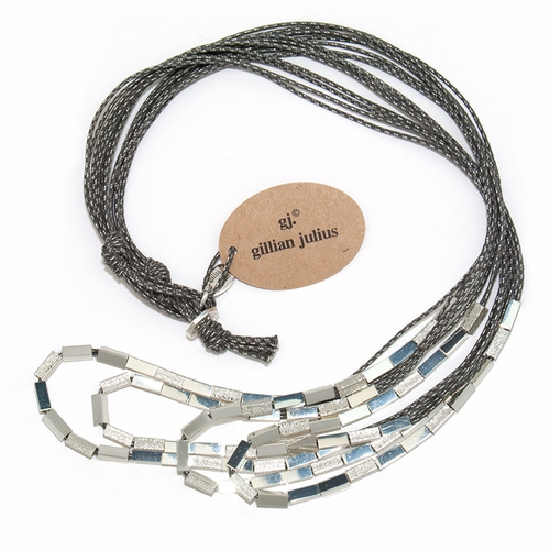 Slate Silver Sandblasted Waterfall Necklace by Gillian Julius