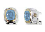 Small Nouveau Post Clip Earrings - Aqua - John Medeiros