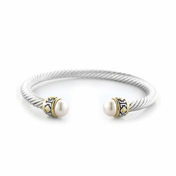 Small Pearl Wire Cuff Bracelet - White - John Medeiros