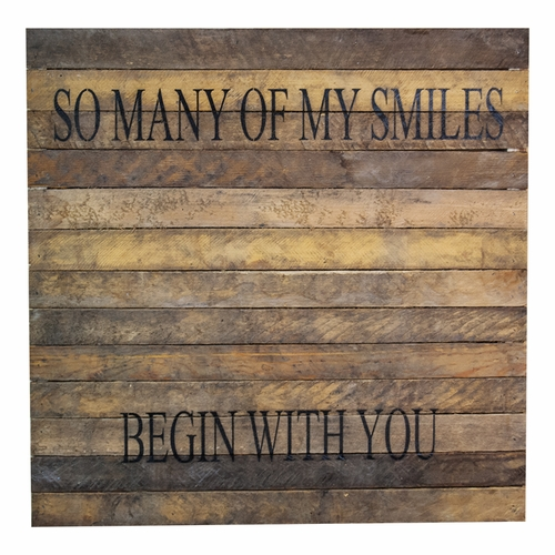 "So Many Of My Smiles Begin With You 20"" x 20"" Wall Art - Original Wood - Second Nature By Han"
