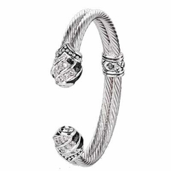 Sparkling Seas Pave End Double Wire Cuff Bracelet - John Medeiros (Special Order)
