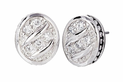 Sparkling Seas Pave Oval Stud Earrings - John Medeiros