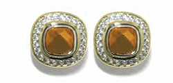 Square Pave Post Clip Earrings - Champange - John Medeiros