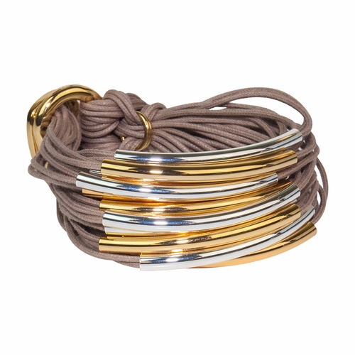 Taupe Mixed Gold Silver Multi Tube Bracelet by Gillian Julius