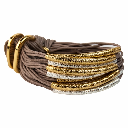 Taupe Silver and Gold Sandblasted Tube Bracelet by Gillian Julius
