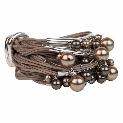 Taupe Silver Tube Pearls Bracelet by Gillian Julius