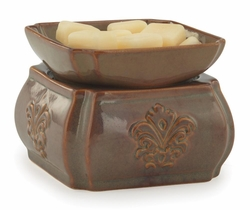 Toffee Damask Ceramic Fragrance Warmer with Dish