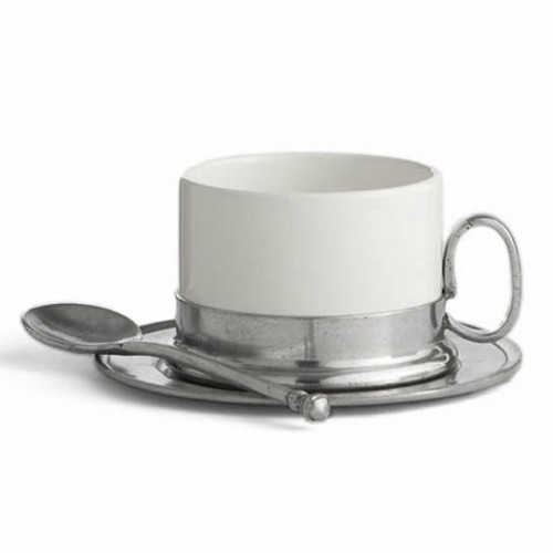 Tuscan Cappuccino Cup & Saucer with Spoon - Arte Italica