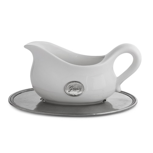Tuscan Gravy Boat with Tray - Arte Italica