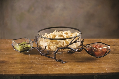 Twig Double Chip Dip Server With Bowls by Bella Toscana