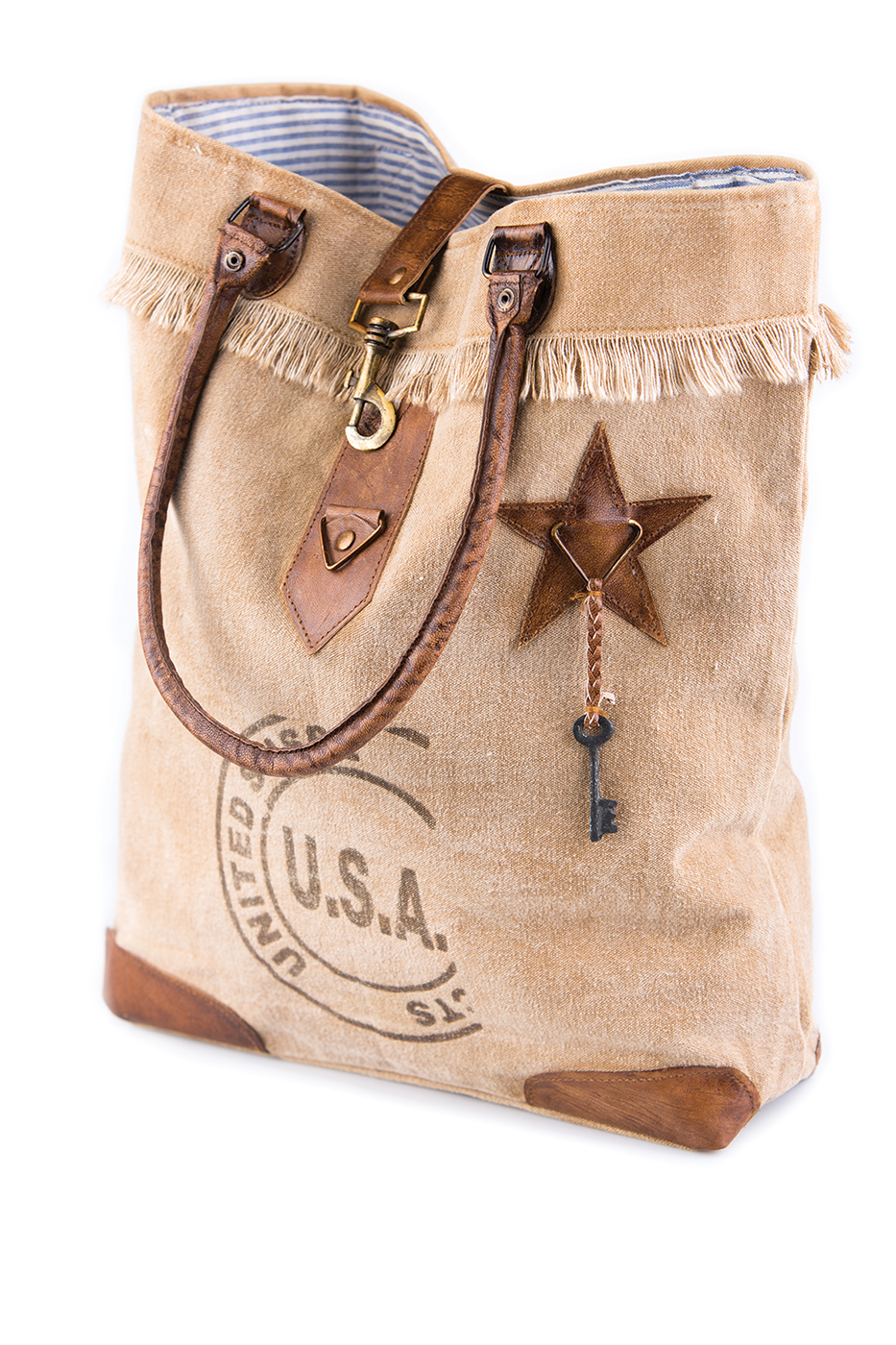 Usa Stamped Canvas Tote By Mona B