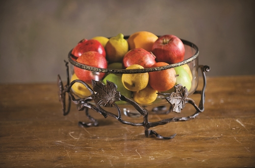 Vineyard Glass Fruit Basket by Bella Toscana