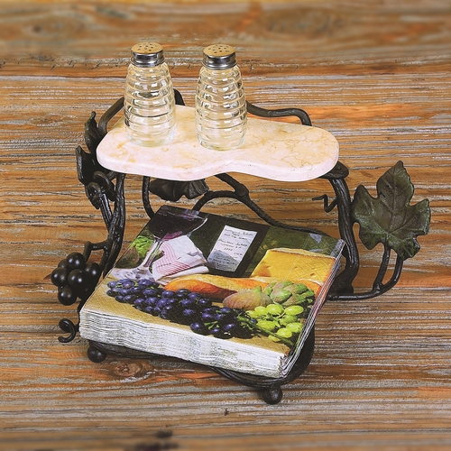 Vineyard Luncheon Napkin Holder With Shelf by Bella Toscana