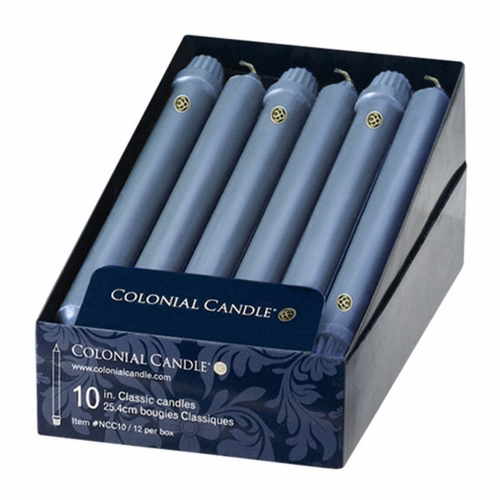 """Wedgwood 10"""" Unscented Classic Taper 12-Pack Colonial Candle"""