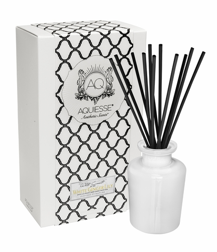 White Ginger Lily Reed Diffuser Set by Aquiesse
