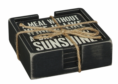 Wine Box Sign Coaster Set - Primitives by Kathy