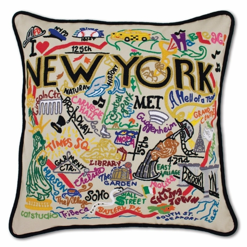 New York City XL Hand-Embroidered Pillow by Catstudio (Special Order)