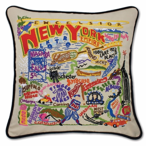 New York XL Hand-Embroidered Pillow by Catstudio (Special Order)